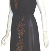Black Vintage 1970s Disco Dress