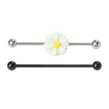 """14G 1 1/2"""" Steel Industrial Daisy Barbell 2 Pack"""