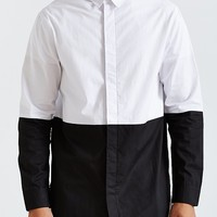 Colorblock Long Button-Down Shirt - Urban Outfitters