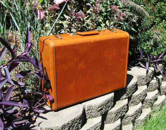 vintage Samsonite saddle tan hard sided suitcase. case. briefcase. decor. fall fashion. back to school