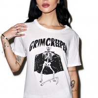 Petals and Peacocks Grim Creeper Tee Vintage White
