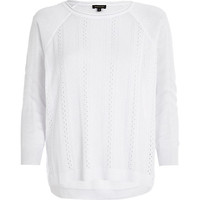 River Island Womens White mixed stitch lightweight sweater