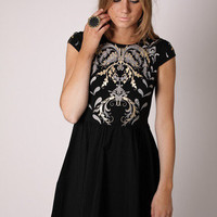 coat of arms cocktail - black with silver/gold at Esther Boutique