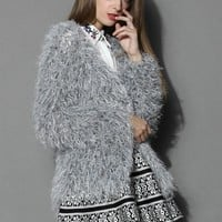 Warm Embrace Shaggy Coat in Silver Grey S/M