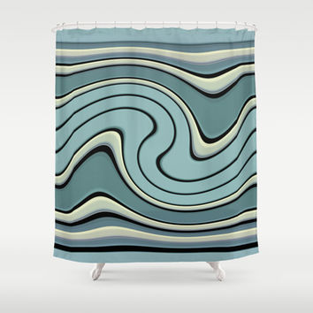 wavesB Shower Curtain by VanessaGF