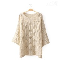 Multi-Color Round Neck Hollow Knit Sweater