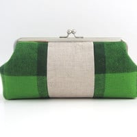 Frame Clutch -green plaid pathwork