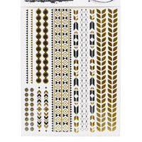 Black and Gold Foil Temporary Tattoos - Gold