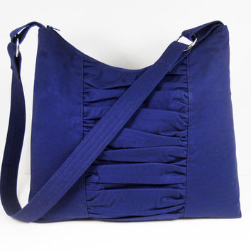 Hobo Bag, Large Purse, Handmade Handbag, Shoulder Bag, Gathered Hobo Bag, Zipper Top Handbag, Navy Blue Cotton Twill Exterior, Ready to Ship