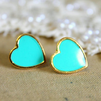 Blue sea foam  blue Heart  gold stud  earring -petit elegant 14k gold coated post earrings