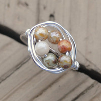 Wire Wrapped Ring Silver and Earth Tone Bead Fall Autumn