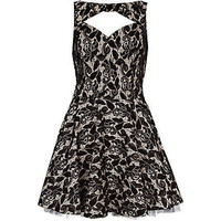 black lace cut out prom dress