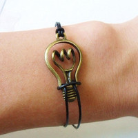 jewelry bangle leather bracelet women bracelet girls bracelet with antique bronze bulb and leather cuff  bracelet wrist SH-0183
