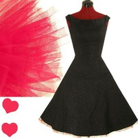 Black PINK 50s Swing Rockabilly FULL SKIRT Dress S M - eBay (item 290574374664 end time Jul-06-11 15:45:23 PDT)