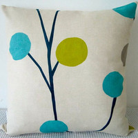Floral retro blue, green and grey cushion Cover, contemporary designer fabric slip cover
