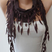 Brown-Dark Purple Scarf with Trim Edge - Summer Collection...