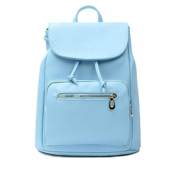 CrazyPomelo Women's Preppy Look PU Leather Backpack Mint