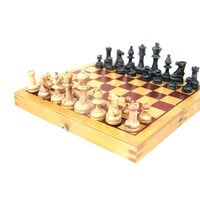 Soviet vintage small chess board with pieces full set 1971 wooden old games collectibles chess game