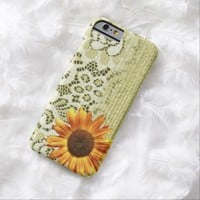 rustic girly western country sunflower lace burlap iPhone 6 case