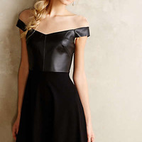 Ponte & Leather Flared Dress