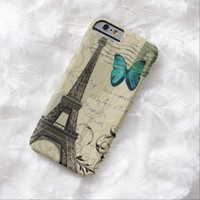 shabby chic eiffel tower butterfly vintage floral iPhone 6 case