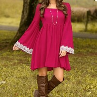A Walk In The Park Dress-Wine
