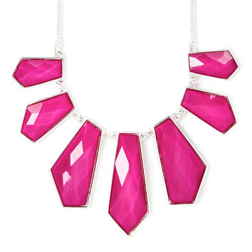 Geometric Fuchsia Glitter Stones Statement Necklace