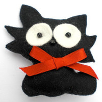 Black Felt Cat Brooch, Black Cat, Cat Brooch, Felt Brooch, Black Cat Brooch, Felt Cat Brooch, Felt Pin