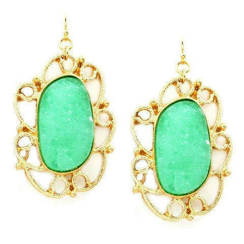 Pree Brulee - Mint Green Druzy Earrings