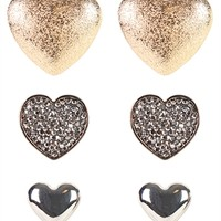 Set of 3 Graduated Heart Studs with Stones