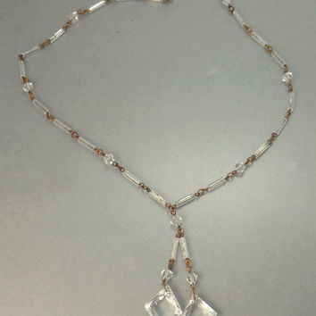 Vintage Art Deco Faceted Crystal Negligee Necklace