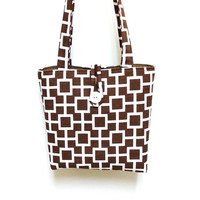 Brown print handbag, White print handbag, Geometric print tote, Chocolate brown tote, Brown shoulder bag, Print shoulder bag, Brown handbag