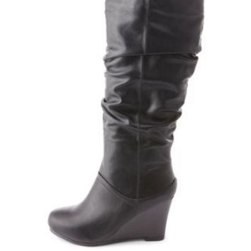 Bamboo Slouchy Wedge Boots by Charlotte Russe - Black