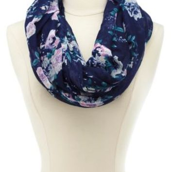 Floral Print Infinity Scarf by Charlotte Russe - Navy Combo