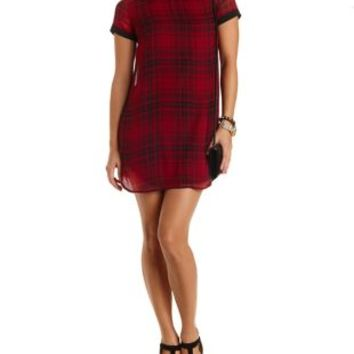 Peter Pan Collar Plaid Shift Dress by Charlotte Russe - Black Combo