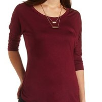 Ruched Dolman Sleeve Tee by Charlotte Russe - Burgundy