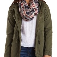 Drawstring Hooded Anorak Jacket by Charlotte Russe - Olive