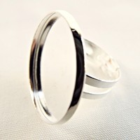 Silver Plated Cabochon Adjustable Ring Blanks - Set of 10