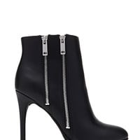 Double-Zip Faux Leather Booties
