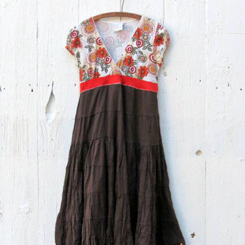 Babydoll Maxi Dress brown bohemian clothing womens size Large upcycled boho recycled refashioned eco one of a kind clothing by wearlovenow
