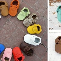 Genuine Leather Baby Moccasins 39 Colors 0-2 Years