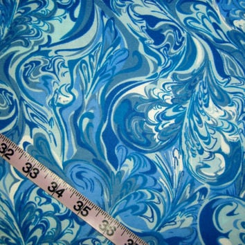 Blue Flannel fabric with hearts swirled ink design marble cotton quilting sewing material by the yard colorful