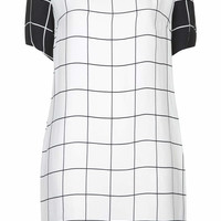 Monochrome Grid Print Tunic Dress