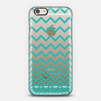 Teal Ombre Chevron Transparent iPhone 6 case by Organic Saturation | Casetify