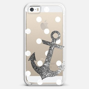 Glitter Anchor with dots in Silver iPhone 5s case by Nika Martinez | Casetify