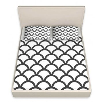 DiaNoche Designs Unique Decorative Designer Bed Sheets | Organic Saturation's White Scallop Pattern