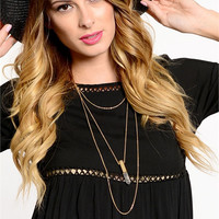 Layered Crystal Bullet Necklace (White)