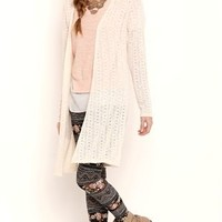 Long Sleeve Textured Duster with Crochet Back