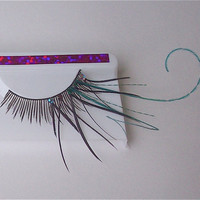 Teal Twirly Burlesque Feather Eyelashes One of a Kind