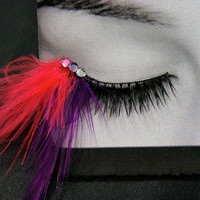 Electric Neon Pink and Purple False Feather Eyelashes Party Costume Makeup